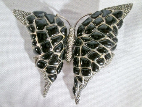 925 STERLING SILVER BUTTERFLY MOTH INSECT BROOCH PIN MARCASITE ONYX 46g BLACK
