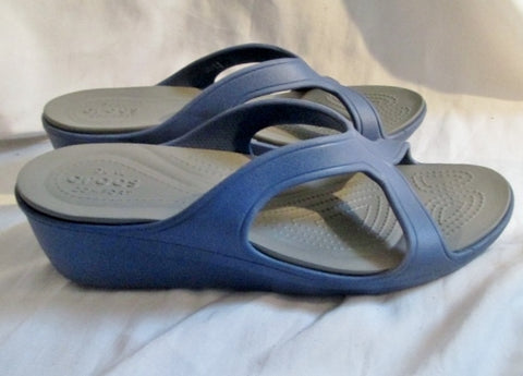 NEW Womens CROCS Dual Comfort Wedge Heel Clog Mule Flip Flop Shoe BLUE 11