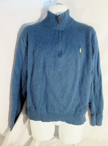 Mens POLO RALPH LAUREN Knit Ski Sweater Holiday BLUE XL Logo Zip Turtleneck