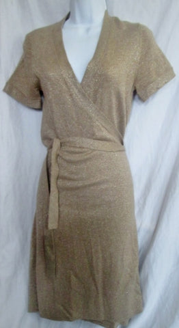 Womens Tevrow + Chase Drop Waist Belt Shirt Wrap Dress S METALLIC GOLD Belt