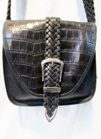 BRIGHTON Leather Croc Signature Shoulder Bag Crossbody Purse BLACK HEART M