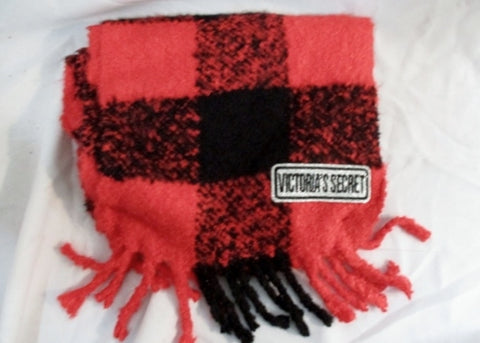 NEW VICTORIA'S SECRET Fleece NECK SCARF Wrap PLAID RED BLACK Fringe Hunter