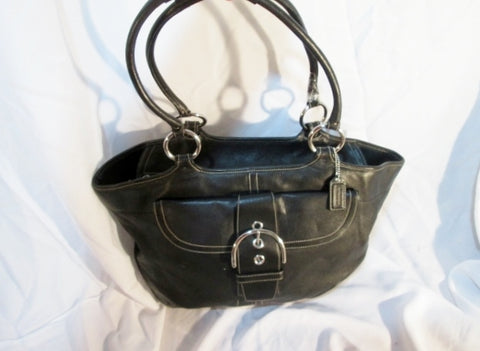 COACH 5770 HAMPTON SHOPPER TOTE CARRYALL BLACK GLOVE LEATHER SHOULDER BAG