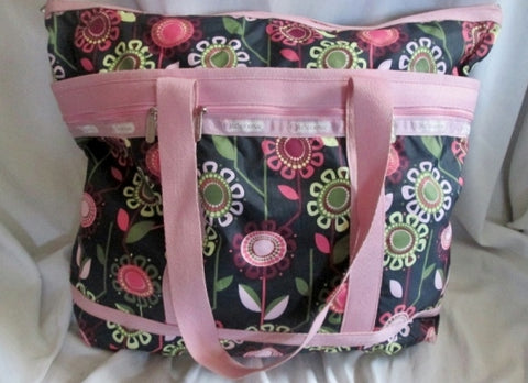 LeSPORTSAC Duffle Travel Carry-On Overnighter Luggage Tote Bag SUNFLOWER BROWN PINK