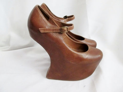 Womens JEFFREY CAMPBELL NIGHT-WALK PLATFORM Sheath Shoes 7 BROWN Leather