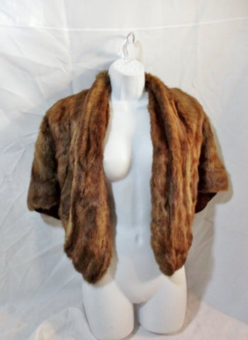 Vintage Womens Mink Fur BOLERO Coat Jacket BROWN Wrap Shrug Cape