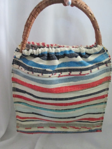 NEW Woven Basket Tote Satchel Shoulder Market Bucket Bag MULTI STRIPE Ethnic NATURAL
