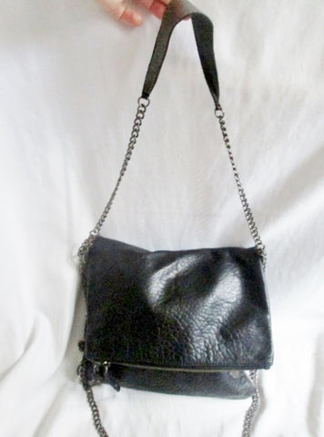ZADIG VOLTAIRE Leather Shoulder Flap Bag Man Purse Crossbody BLACK SKULL Industrial