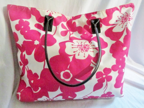 MACY's Vegan TOTE Bag Carryall PINK FLORAL XL Shopper Market Bag Preppie