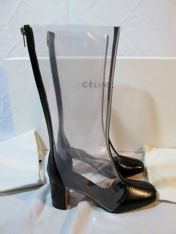 NEW NIB Womens CELINE PARIS Leather MID CALF Boot 36 6 BLACK CLEAR