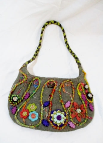 New RISING TIDE Boiled Wool Felt Purse Bag GRAY FLOWER FLORAL Textured