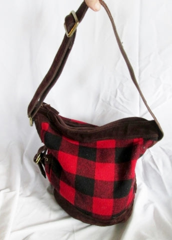 LUCKY BRAND Hunting Man Purse Messenger Crossbody Bag PLAID RED BLACK