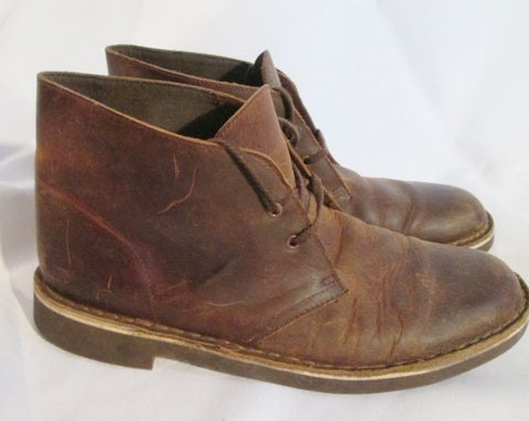 Mens CLARKS BUSHACRE Boot Leather Ankle Chukka Loafers BROWN 8.5 Booties