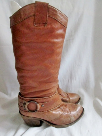 Womens STEVE MADDEN DIABLO Leather HARNESS Engineer Moto BOOTS 6.5 BROWN