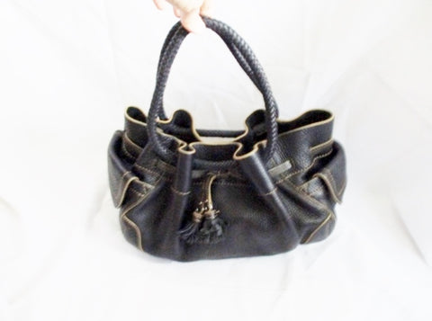 COLE HAAN VILLAGE SP06 leather shoulder bag satchel Tote BLACK FRINGE Purse