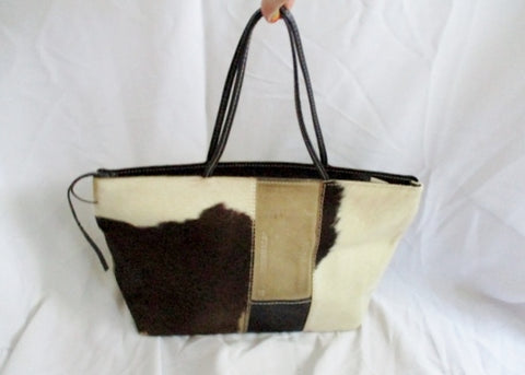 HUMAWACA TODO COW FUR Hair Tote Leather Animal Print BROWN WHITE BLACK