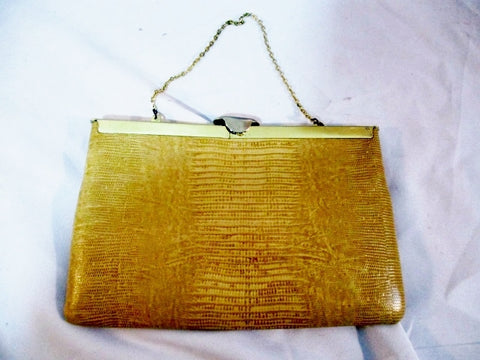 ETRA REPTILE LEATHER Lizard SKIN Collapsible Hinge Evening Bag BEIGE Purse Clutch Vintage