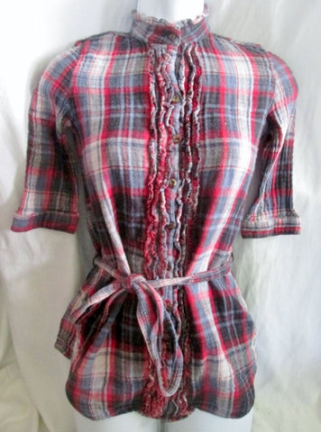 WOMENS VINTAGE HAVANA Rockabilly Shirt Top M RED BLUE PLAID Boho Indie