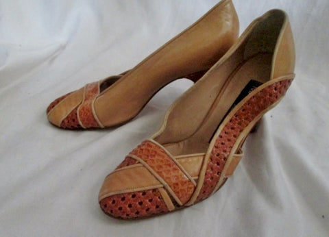 Vintage Womens Maud Frizon Paris Italy Leather SHOE High Heel Pump 35 BROWN