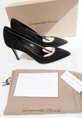 NEW Womens GIANVITO ROSSI Suede High Heel Pump Shoe BLACK 36 6 LEATHER Slide