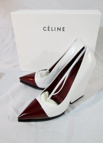 NEW CELINE PARIS SPAZZOLATO BORDEAUX Pump Shoe 36 6 WHITE RED Womens