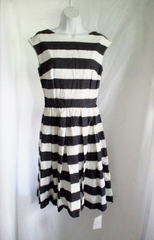NEW NWT DOLCE & GABBANA ITALY Striped dress 42 / 6 BLACK WHITE WOMENS