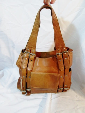LAVIVE Leather Handbag Shoulder Saddle Bag Satchel Tote BROWN CARAMEL