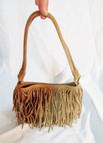 AMERICAN EAGLE OUTFITTERS AEO Suede Fringe hobo shoulder bag purse BEIGE Hippie