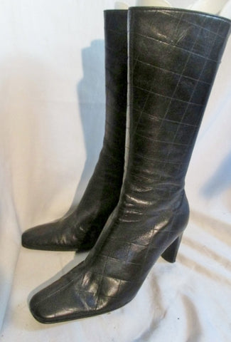 Womens CLAUDIA CIUTI ITALY Quilted Leather Gogo Riding Boot Rocker BLACK 8.5 Boots