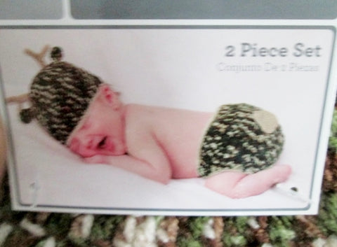NEW HAND CROCHETED HAT DIAPER COVER DEER INFANT BABY Clothing 0-9M Set Outfit