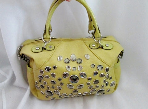 KATHY VAN ZEELAND faux leather tote shoulder bag purse satchel DIJON YELLOW JEWEL
