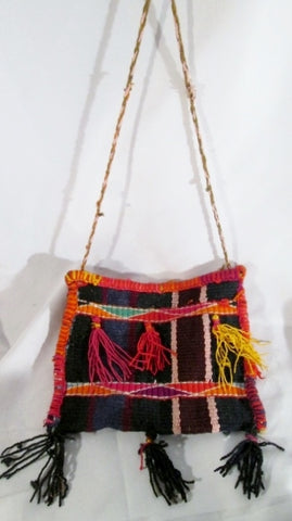 Woven Kilim Wool Blanket Ethnic Tapestry Carpet Shoulder Bag Purse SERAPE Fringe Tassel Crossbody