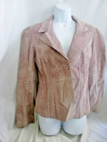Womens BEBE LEATHER suede jacket Hipster Moto Riding Coat Stitch Blazer M NUDE PINK
