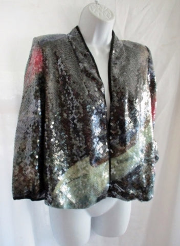 MOTHER OF PEARL SEQUIN JACKET 6 Blazer BLACK SILVER BOLERO Womens
