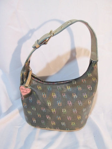 DOONEY & BURKE Signature Logo Hobo Satchel Bucket Bag Purse BROWN Leather HEART