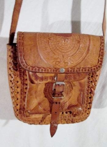 Handmade Latin Tooled Leather Shoulder Bag Satchel BROWN MAYAN CALENDAR