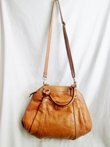 TIGNANELLO CROC Leather Shoulder Bag Handbag Satchel Tote CAMEL BROWN Hobo