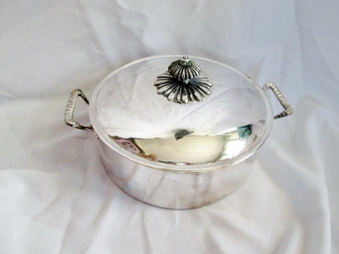 Vintage SILVERPLATE Covered DISH POT LID Nouveau Deco Handle