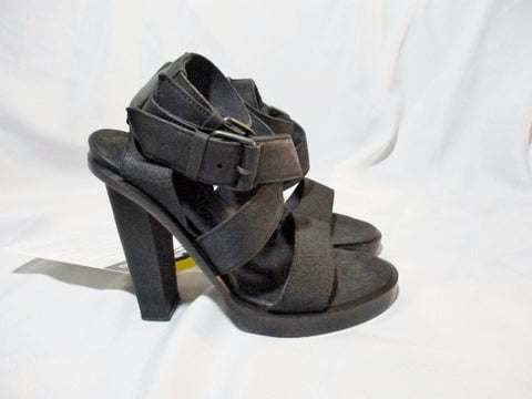 DAMIR DOMA Strappy High Heel Sandal Suede ITALY Shoe 36 6 BLACK Womens