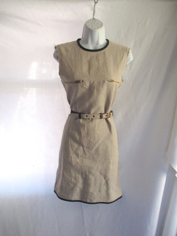 NEW CELINE LINEN Rough Cut Jersey w Leather Belt Dress 38 ECRU TAN BEIGE