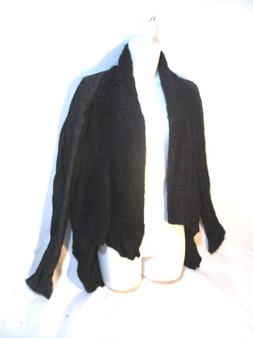 NEW RICK OWENS MOHAIR LEATHER Cardigan Sweater BLACK S Jacket