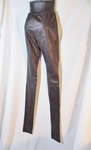 NEW NWT ANN DEMEULEMEESTER LEATHER Trouser PANT 36 4 AUBERGINE BROWN