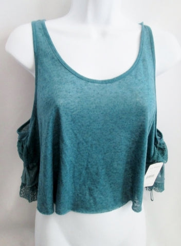 NEW Womens FREE PEOPLE Ruffle Tank Top Cami Belly Shirt ANTHROPOLOGIE L BLUE Seafoam