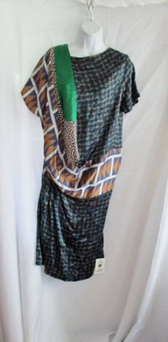 NEW NWT DRIES VAN NOTEN DARESS Silk Maxi Dress 38 6 BLUE BEIGE GREEN