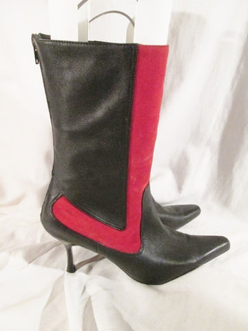 Womens BURNASH LANA Suede Leather Gogo Mid Calf Stiletto Boots BLACK 10.5 RED Sexy