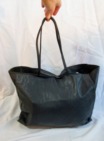 CROUCH FITZGERALD NEW YORK Genuine Leather Tote Bag BLUE NAVY Shopper Carryall