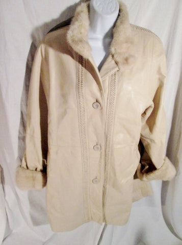 Vtg Womens Genuine RABBIT Fur Leather Parka Coat Jacket ECRU CREME WHITE M ESTATE FIND