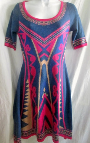 Womens FLYING TOMATO Ethnic Aztec Maya Geometric DRESS M BERRY PINK BLUE INDIGO