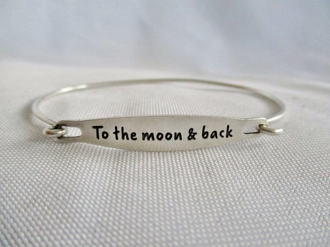 CHAMILIA 925 STERLING SILVER MOON BACK LOVE Bracelet Cuff Bangle Hinged Statement