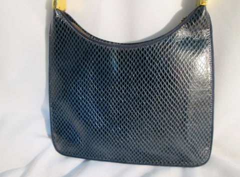 RONET Leather Snakeskin Pattern Hobo Shoulder Bag BLUE Python Animal Print Purse Vintage